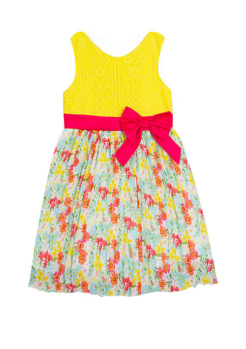 Rare Editions Girls 4-6x Yellow Bodice Floral Skirt