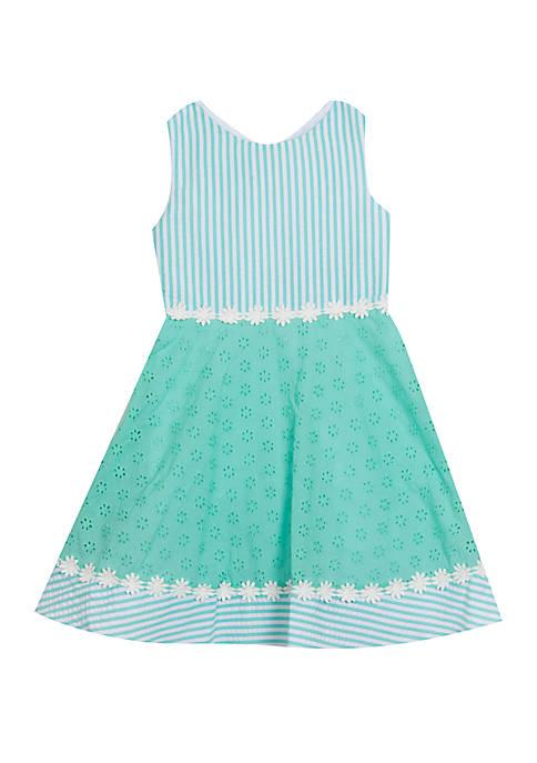 Girls 4-6x Mint Eyelet Seersucker Dress