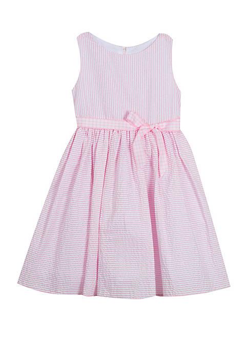 Girls 4-6x Pink Seersucker Fit and Flare Dress