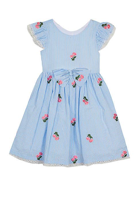 Rare Editions Girls 4-6x Cherry Seersucker Dress