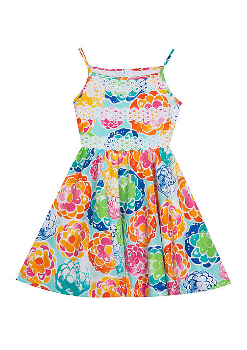Rare Editions Girls 4-6x Large Floral Skater Dress