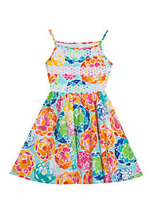 ... Rare Editions Girls 4-6x Large Floral Skater Dress f5ad8111c