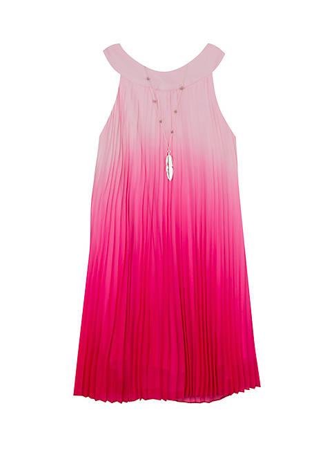 Girls 4-6x Fuchsia Ombre Pleated Dress