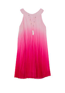 Rare Editions Girls 4-6x Fuchsia Ombre Pleated Dress