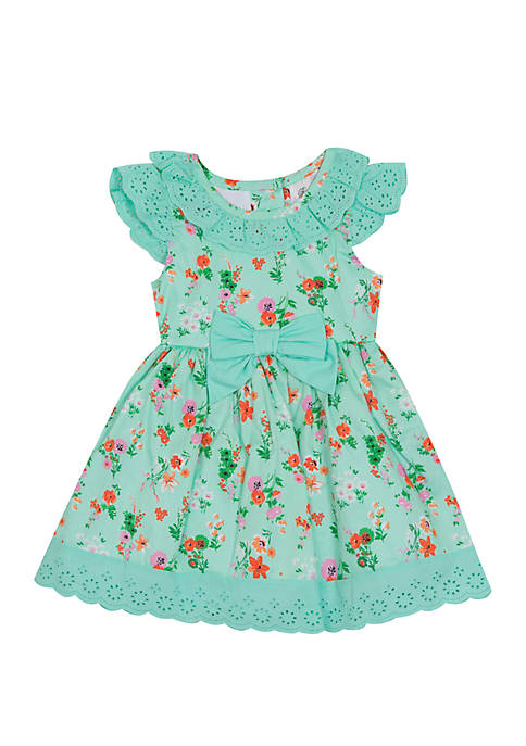 Rare Editions Girls 4-6x Floral Mint Bow Waist