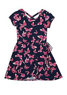 Girls 4-6x Short Sleeve Yummy Butterfly Dress