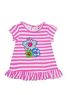 Girls 4-6x Pink Stripe Flower Top