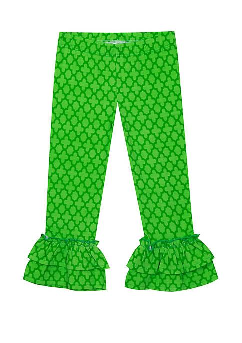 Girls 4-6x Two Ruffle Green Capris