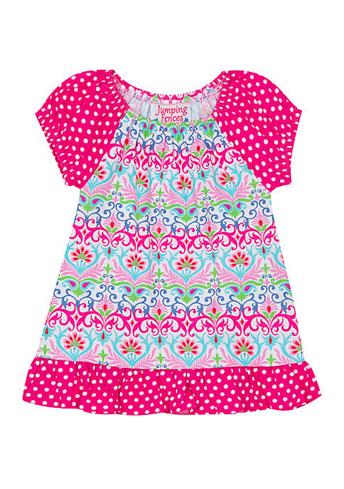 Girls 4-6x Two Tier Mixed Pattern Top