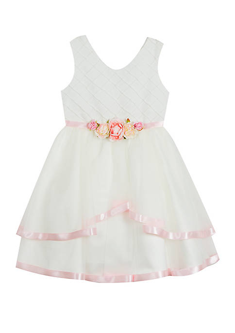 Girls 4-6x Pin Tuck Ivory Dress with Floral Waistband
