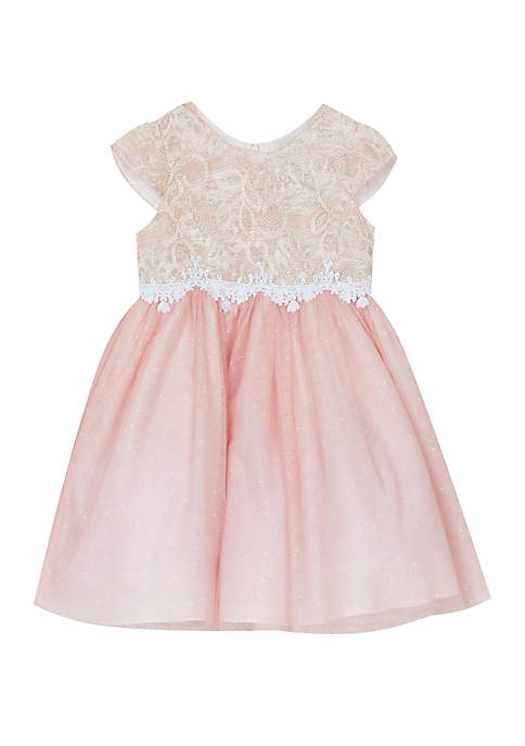 Rare Editions Girls 4-6x Blush Sparkle Lace Dress