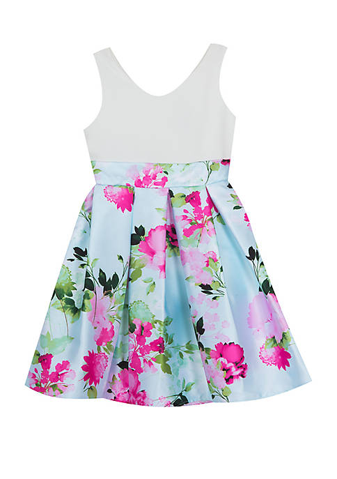 Girls 4-6x Floral Pleated Skirt with Ivory Bodice Dress