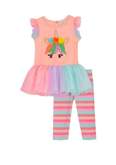 Girls 4-6x Cap Sleeve Unicorn Leggings Set