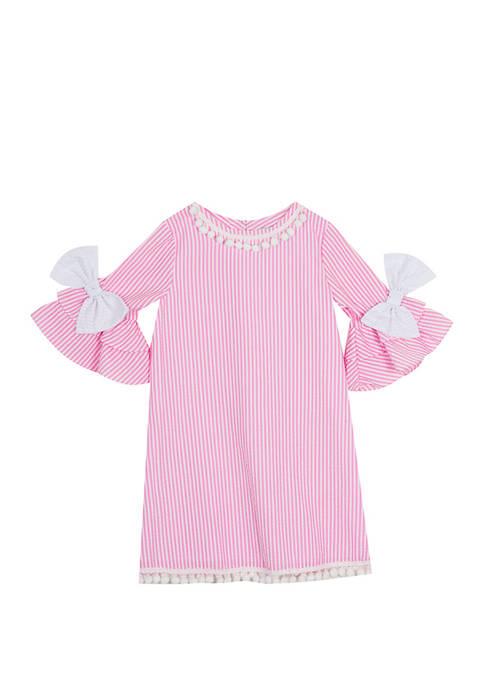 Rare Editions Girls 4-6x Bell Sleeve Seersucker Dress