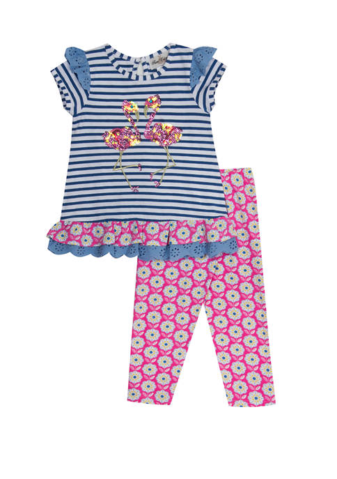 Rare Editions Girls 4-6x Flamingo Top and Leggings