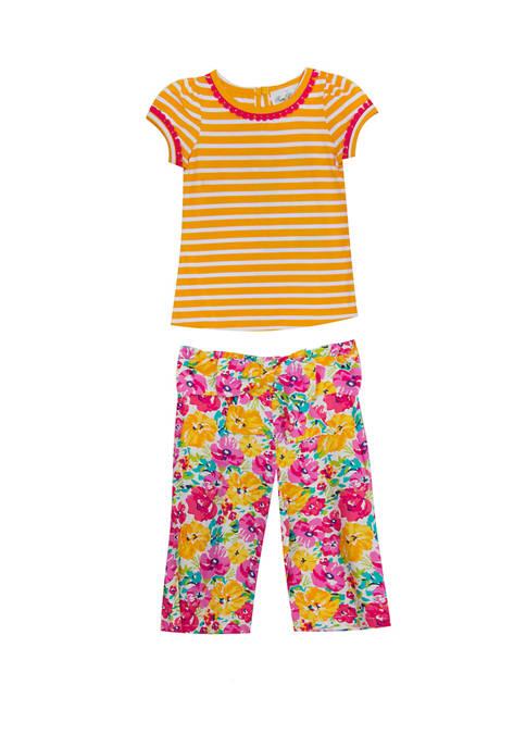 Girls 4-6x Short Sleeve Stripe Floral Paper Bag Pants Set