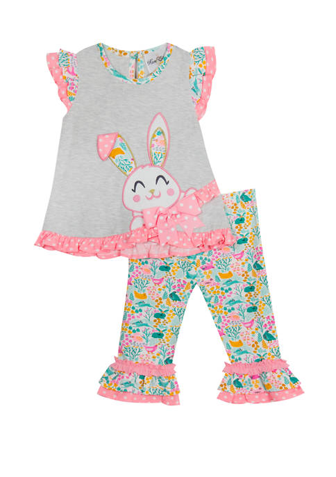 Rare Editions Girls 4-6x Bunny Top and Leggings
