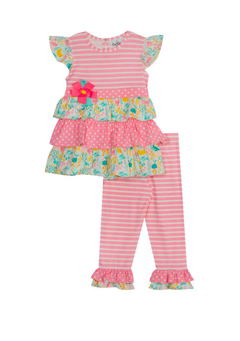 Rare Editions Girls 4-6x Cap Sleeve Triple Ruffle