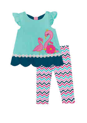 Rare Editions Teal Pink Striped Floral Dress Set  12 or 24 Months