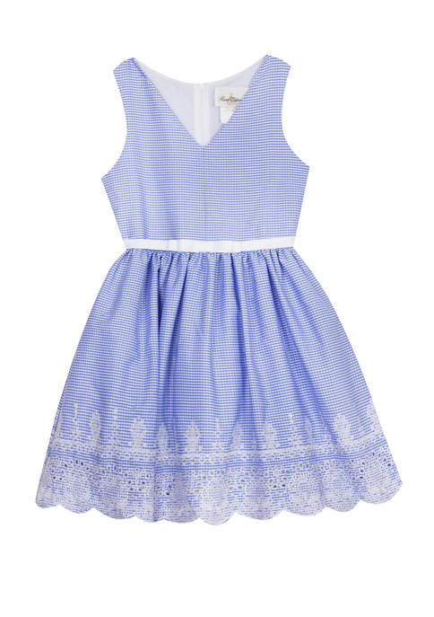 Rare Editions Girls 4-6x Sleeveless Embroidered Seersucker Dress