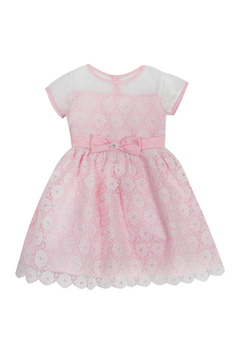 Rare Editions Girls 4-6x Short Sleeve Lace Illusion