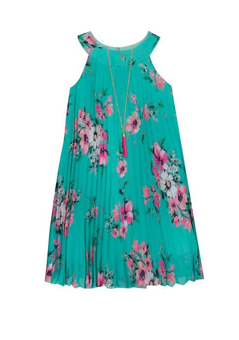 Rare Editions Girls 4-6x Printed Pleat Chiffon Dress