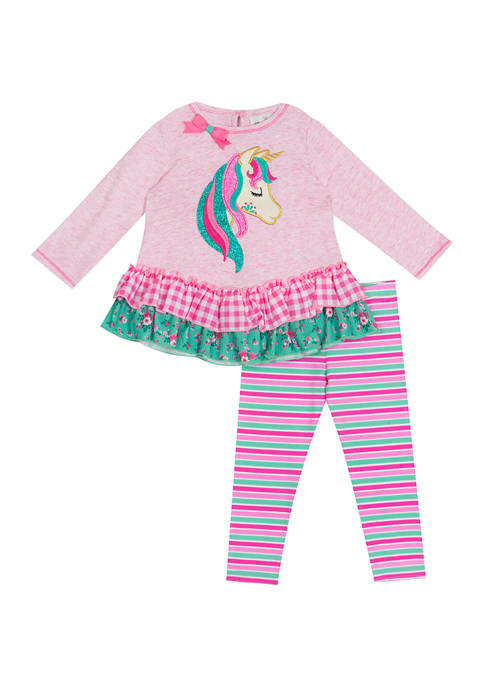 Counting Daisies Girls 4-6x Knit Unicorn Appliqué Set