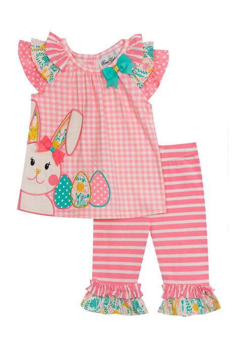 Girls 4-6x Check Knit Top and Leggings Set