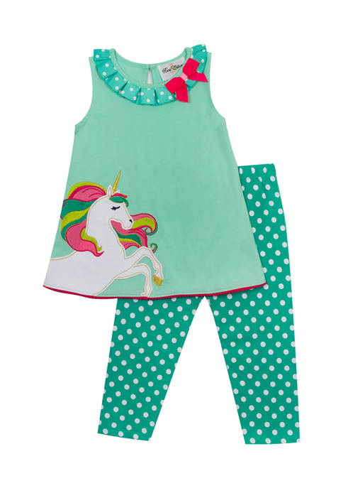 Girls 4-6x Unicorn Appliqué Top and Dot Leggings Set