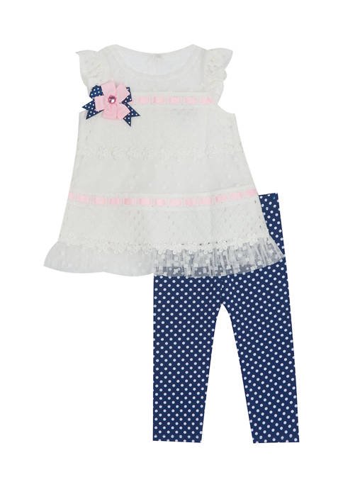 Counting Daisies Girls 4-6x Knit Lace Top and