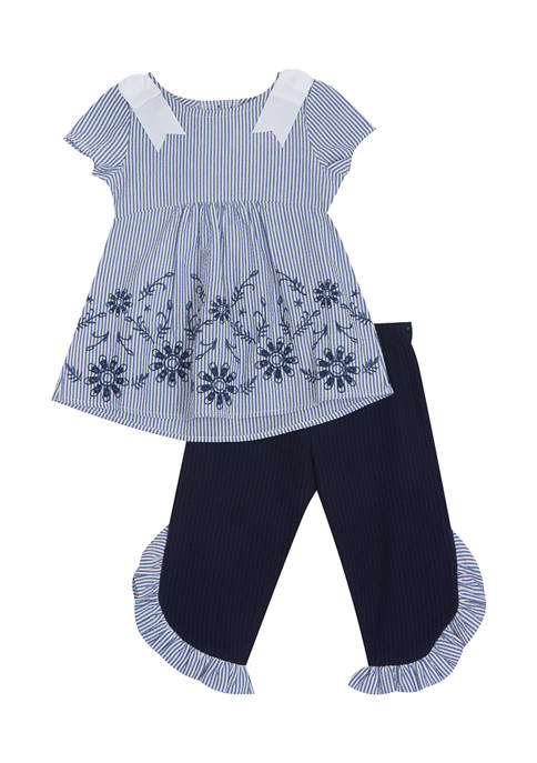 Counting Daisies Girls 4-6x Striped Embroidered Set