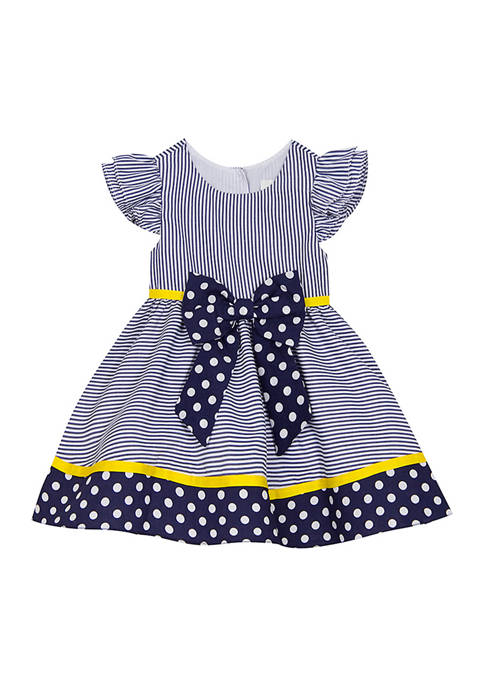 Rare Editions Girls 4-6x Navy Stripe to Polka