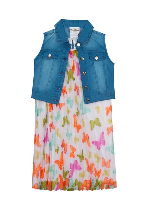 Girls 4-6x Pleated Print Dress