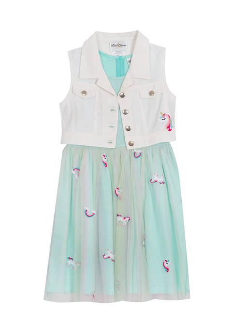 Girls 4-6x Embroidered Mesh Dress and Vest