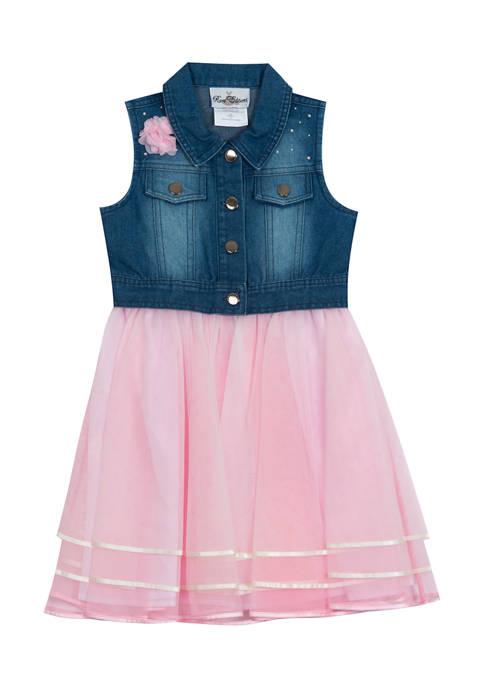 Girls 4-6x Ribbon Mesh Skirt and Denim Vest Top Dress