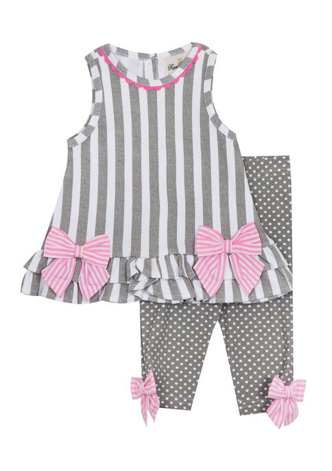 Counting Daisies Girls 4-6x Stripe Knit Ruffled Top
