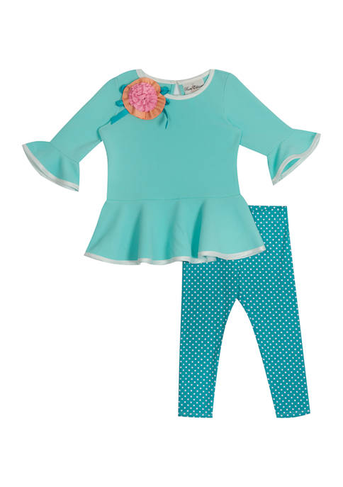 Girls 4-6x Textured Knit Top and Leggings Set