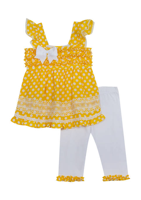 Counting Daisies Girls 4-6x Dot Print Top and