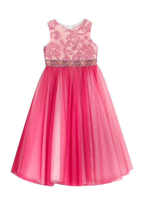 Girls 4-6x Embroidered Bodice to Two Tone Maxi Mesh Skirt Dress