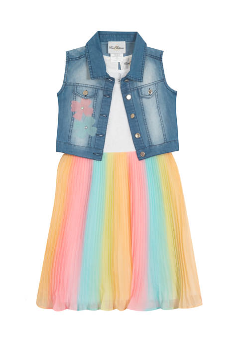 Girls 4-6x Lace to Ombré Pleated Dress with Vest