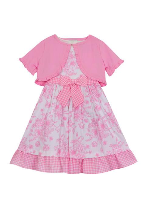 Girls 4-6x Toile Print Poplin Dress