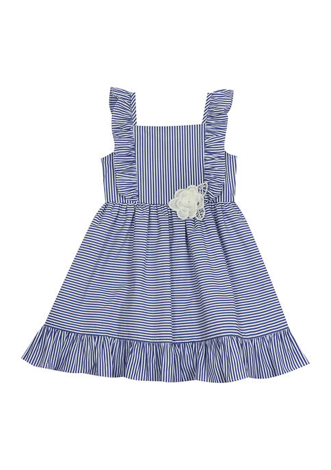 Counting Daisies Girls 4-6x Striped Poplin Ruffle Dress