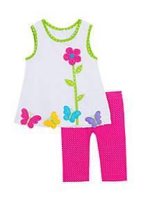 Rare Editions Girls 4-6x Butterfly Flower Seersucker Capri Set