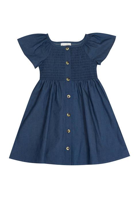 Girls 4-6x Smocked Chambray Dress