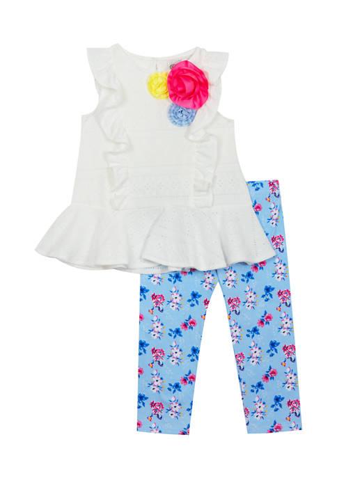 Girls 4-6x Eyelet Knit Top and Leggings Set