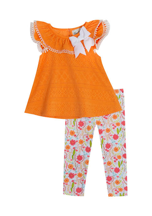 Rare Editions Girls 4-6x Geo Solid Knit Eyelet