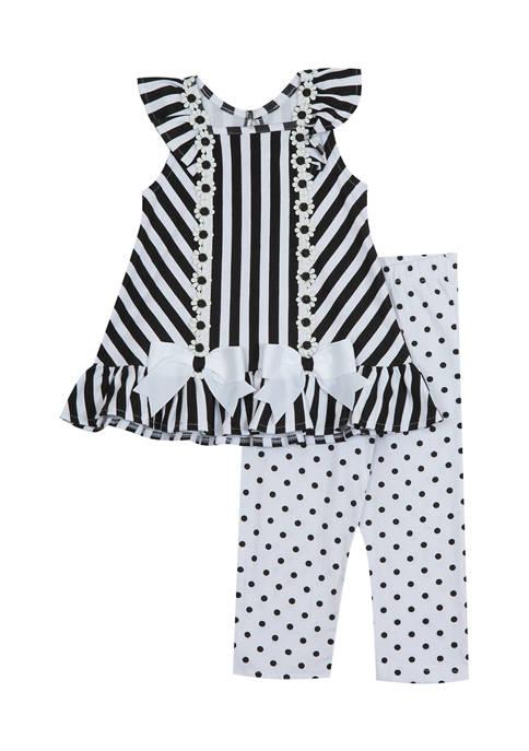 Girls 4-6x Striped Top and Dot Leggings Set