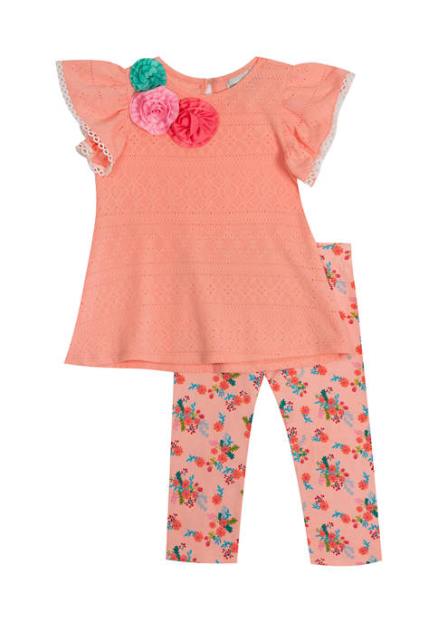 Counting Daisies Girls 4-6x Eyelet Knit Top and
