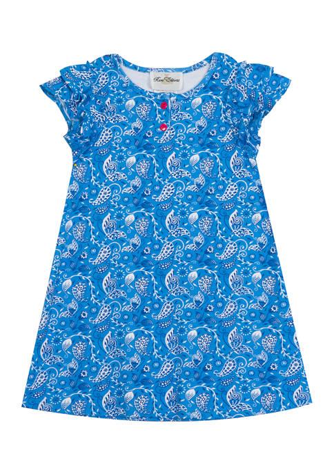 Girls 4-6x Paisley Print Knit A-Line Dress