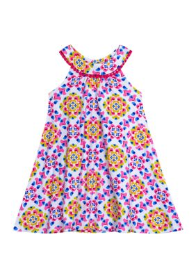 Counting Daisies Girls Girls 4-6X Multi-Colored Geometric A-Line Sleeveless Dress